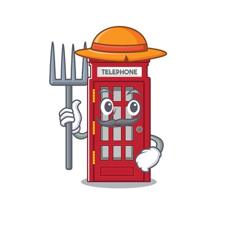 Farmer telephone booth character shape on mascot vector illustrtaion
