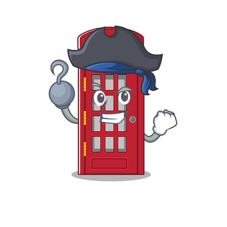 Pirate telephone booth character shape on mascot Stock Illustratie