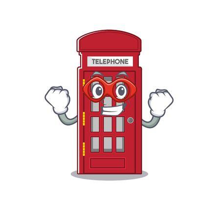 Super hero telephone booth on the roadside character