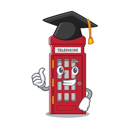 Graduation telephone booth on the roadside character vector illustration