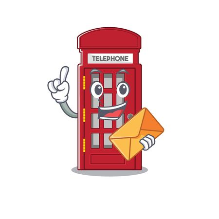 With envelope telephone booth on the roadside character