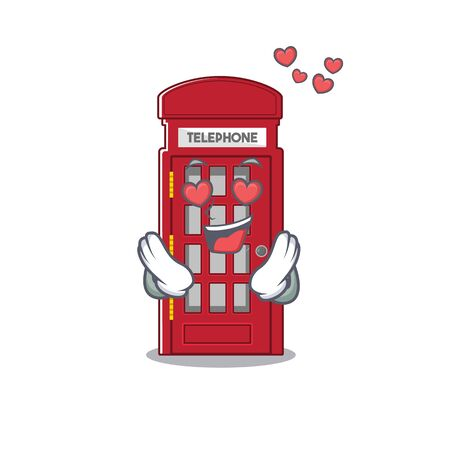 In love miniature telephone booth above cartoon table