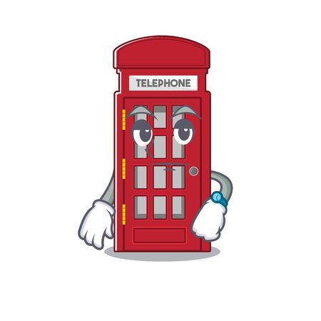 Waiting telephone booth isolated with the cartoon