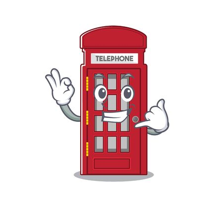 Call me telephone booth isolated with the cartoon Stock Illustratie