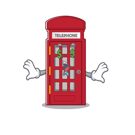 Money eye telephone booth isolated with the cartoon