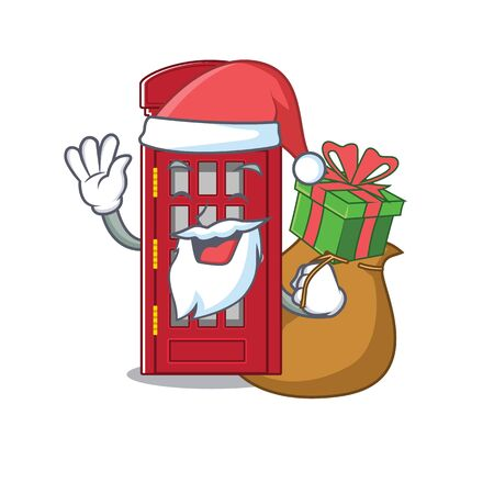 Santa with gift telephone booth isolated with the cartoon