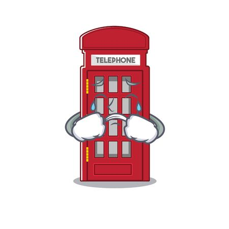 Crying miniature telephone booth above cartoon table