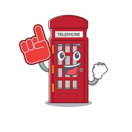 Foam finger telephone booth isolated with the cartoon