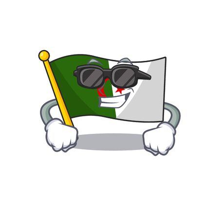 Super cool flag algeria fluttering on cartoon pole vector illustration Illustration