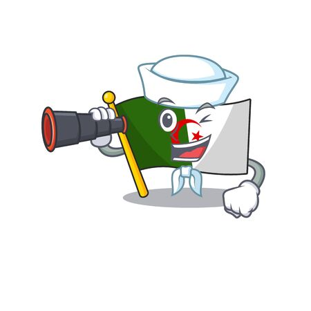Sailor with binocular flag algeria in the character shape vector illustration
