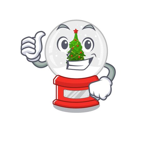 Thumbs up christmas snow globe the cartoon shape vector illustration Stock Illustratie