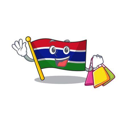 Shopping flag gambia mascot shape the character