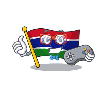 Gamer flag gambia fluttering on cartoon pole