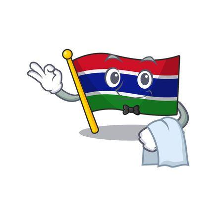 Waiter flag gambia fluttering on cartoon pole Çizim
