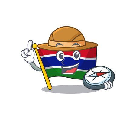 Explorer flag gambia fluttering on cartoon pole Ilustração