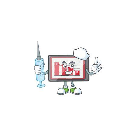 Nurse down chart horizontal table in cartoon character. vector illustration