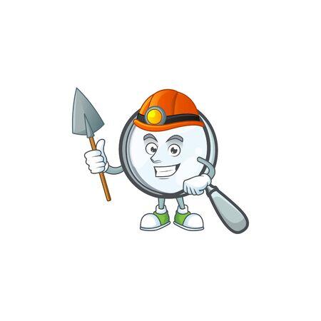 Miner silver magnifying glass for research tool. Ilustração