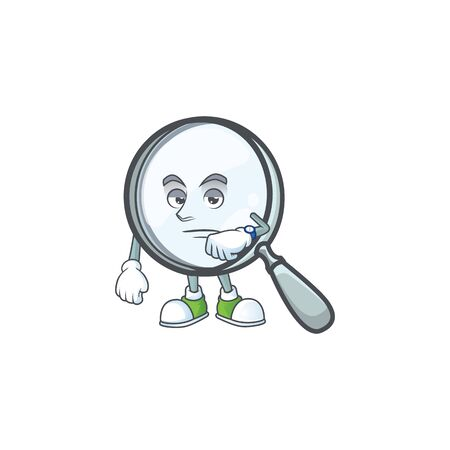 Waiting magnifying glass cartoon character with mascot. Vettoriali