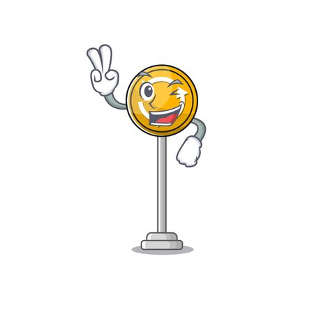 Two finger roundabout ahead character isolated the cartoon Stockfoto - 131030268
