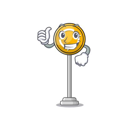 Thumbs up roundabout ahead character isolated the cartoon Vettoriali