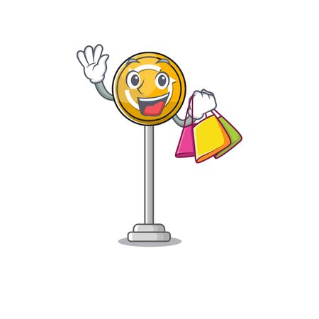 Shopping roundabout ahead character isolated the cartoon