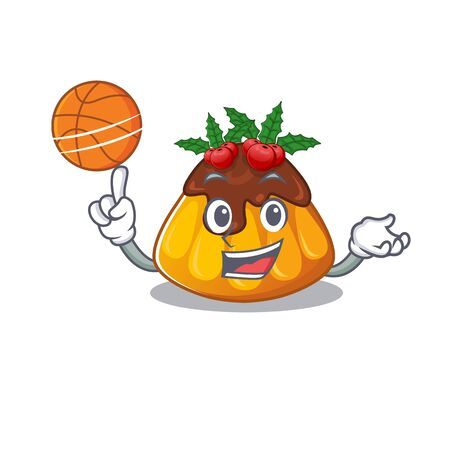 With basketball christmas pudding served on mascot plate vector illustration