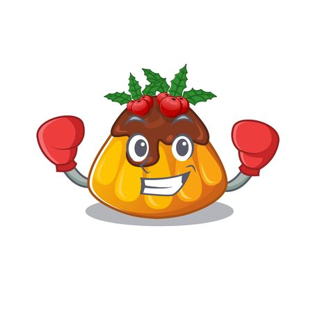 Boxing christmas pudding served on mascot plate vector illustration
