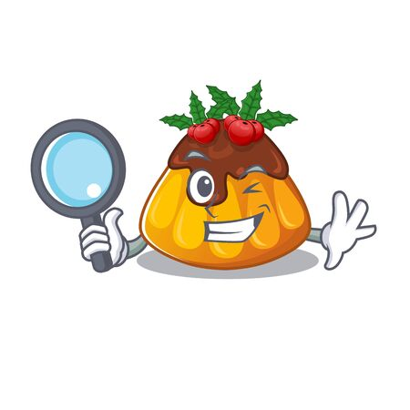 Detective christmas pudding isolated with the cartoon vector illustration