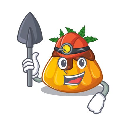 Miner christmas pudding with the character shape vector illustration