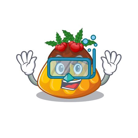 Diving christmas pudding isolated with the cartoon vector illustration