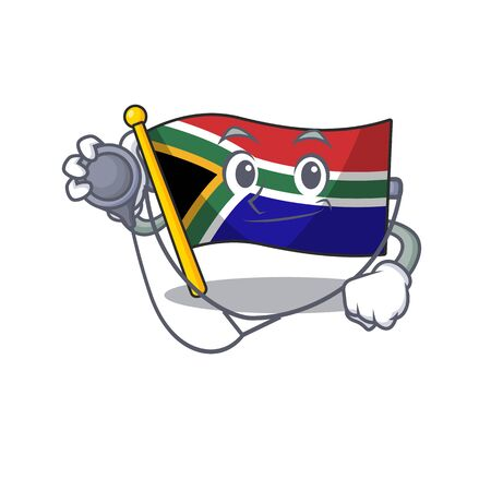 Doctor flag south africa on a character vector illustration