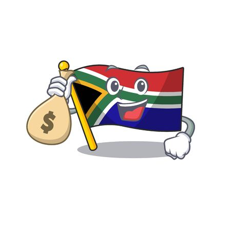 With money bag flag south africa on a character vector illustration Illustration