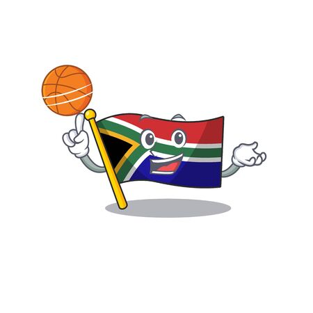 With basketball flag south africa on a character vector illustration