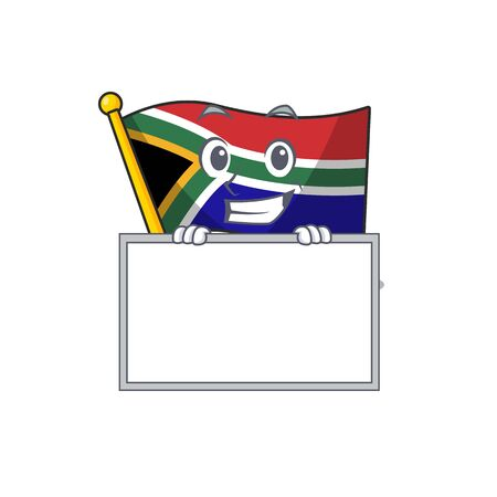 Grinning with board flag south africa on a character vector illustration