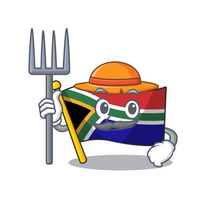 Farmer flag south africa on a character vector illustration Illustration