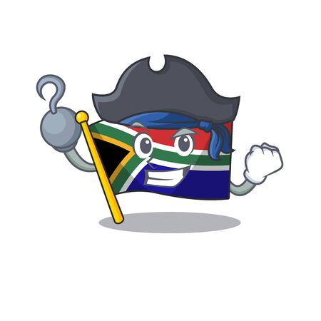 Pirate flag south africa on a character vector illustration