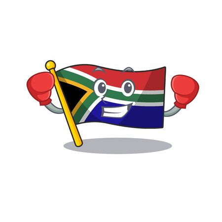 Boxing flag south africa on a character vector illustration Illustration