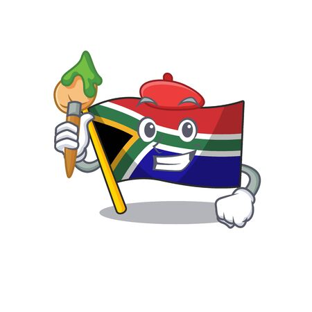 Artist flag south africa on a character vector illustration Illustration