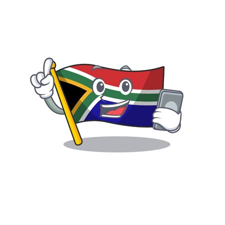 With phone flag south africa on a character vector illustration