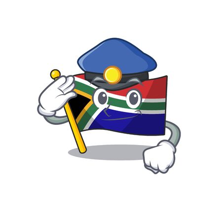 Police flag south africa on a character vector illustration