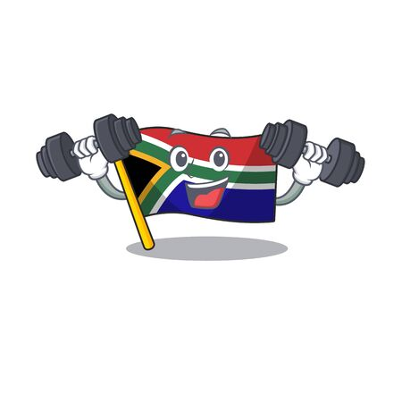 Fitness flag south africa on a character vector illustration Vectores