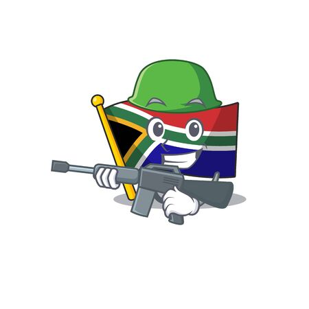 Army flag south africa on a character vector illustration