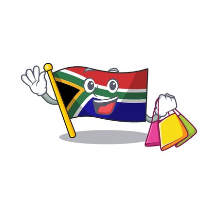 Shopping flag south africa with cartoon shape vector illustration Illustration