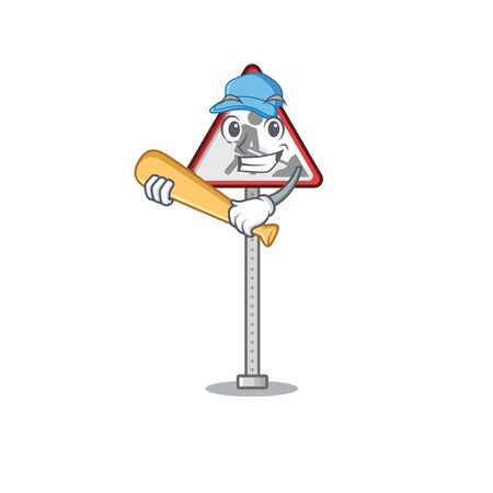 Playing baseball road work sign cartoon shape character vector illustration