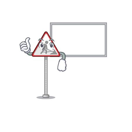 Thumbs up with board road work sign cartoon shape character vector illustration