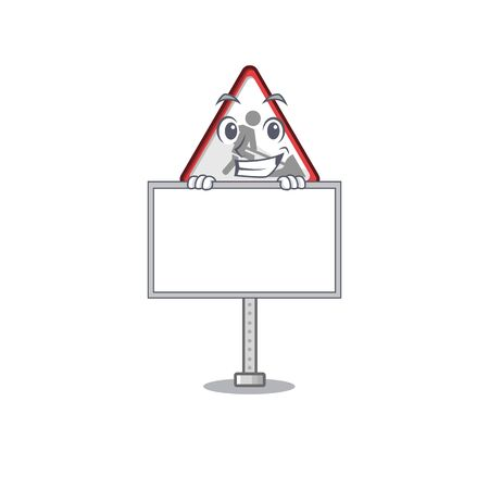 Grinning with board road work sign cartoon shape character vector illustration Banque d'images - 130958799