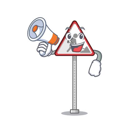 With megaphone road work sign cartoon shape character vector illustration Banque d'images - 130958809