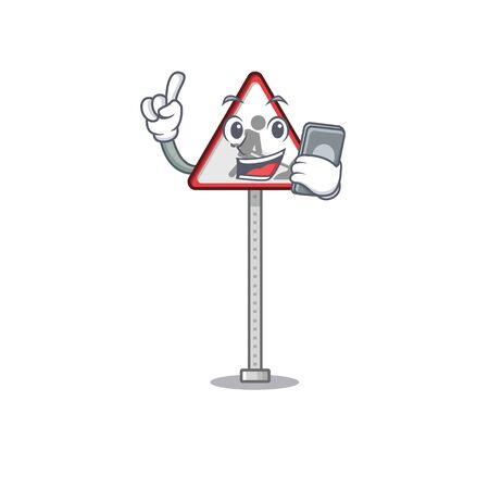 With phone road work sign cartoon shape character vector illustration Banque d'images - 130906283
