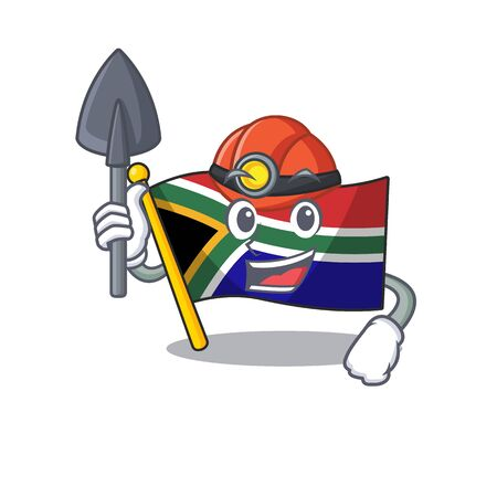 Miner flag south africa isolated with mascot vector illustration
