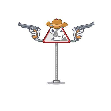 Cowboy road work sign cartoon shape character vector illustration Banque d'images - 130958819